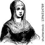 Isabella of Castile 1451 to 1504 she was the queen of Castile and Aragon vintage line drawing or engraving illustration