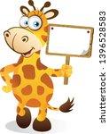 cartoon giraffe holding a small ... | Shutterstock .eps vector #1396528583