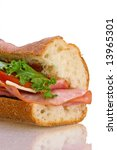 Big sandwich isolated on white - stock photo