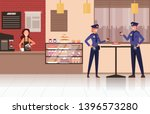 two police workers drinking... | Shutterstock .eps vector #1396573280