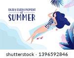 summer time banner. flat design ...