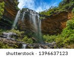 beautiful waterfalls in the blue mountains national park. wentworth falls, new south wales, australia
