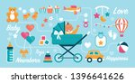 cute newborn baby waving in a... | Shutterstock .eps vector #1396641626