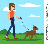 Stock vector walking with a dog vector illustration of a fresh air walk 1396666919
