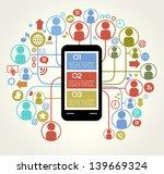 social network telephone.... | Shutterstock .eps vector #139669324
