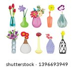 set of colored vases with... | Shutterstock .eps vector #1396693949