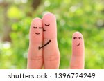 fingers art of happy family.... | Shutterstock . vector #1396724249