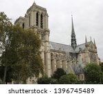 basilica of notre dame in paris ... | Shutterstock . vector #1396745489