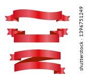 red ribbons set. vector design... | Shutterstock .eps vector #1396751249