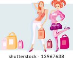 vector image of two girls after ... | Shutterstock .eps vector #13967638
