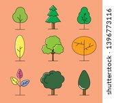 set of trees flat vector art...   Shutterstock .eps vector #1396773116