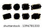 brush strokes set  gold text... | Shutterstock .eps vector #1396781333