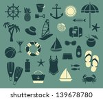 summer seaside icons   set of... | Shutterstock .eps vector #139678780