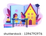 children at home with tutor or...   Shutterstock .eps vector #1396792976