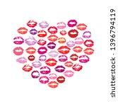 lipstick kiss print heart white ... | Shutterstock .eps vector #1396794119