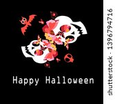 greeting card with skulls and... | Shutterstock .eps vector #1396794716