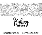 Stock vector bread hand drawn illustration vintage pastry desserts cakes wheat flour fresh bread sketches 1396828529