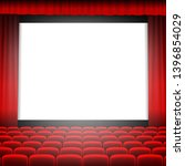 cinema screen with red curtain | Shutterstock . vector #1396854029