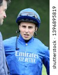 Small photo of NOTTINGHAM RACECOURSE, COLWICK PARK, NOTTS, UK : 30 APRIL 2019 : Jockey William Buick in the Godolphin colours at Nottingham Races