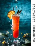 fresh tropical cocktail with... | Shutterstock . vector #1396917923