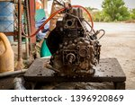 greasy dirty engine part with...   Shutterstock . vector #1396920869