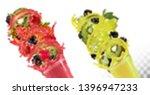 fruit in juice splashes.... | Shutterstock .eps vector #1396947233