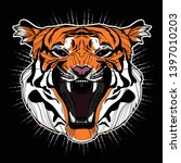 isolated on black angry tiger... | Shutterstock .eps vector #1397010203