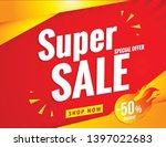 super sale banner template red   Shutterstock .eps vector #1397022683