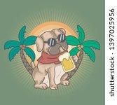 Pug Dog Drink A Beer On Summer...