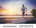 silhouette of man running... | Shutterstock . vector #1397032373
