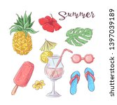 set of cocktail ice cream and... | Shutterstock .eps vector #1397039189