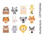 Stock vector cute hand drawn animal for kids poster cute frog raccoon bear sloth panda giraffe fox bunny 1397068466