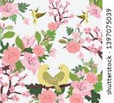 beautiful bird and pink flower... | Shutterstock .eps vector #1397075039