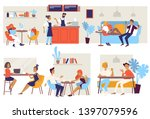 coffee house or cafe chairs and ... | Shutterstock .eps vector #1397079596
