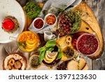 top view image of various tea...   Shutterstock . vector #1397123630