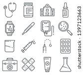 medical line icons on white... | Shutterstock .eps vector #1397123663