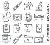 medical line icons set on white ... | Shutterstock .eps vector #1397123750