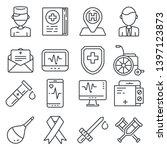 medical line icons set on white ... | Shutterstock .eps vector #1397123873