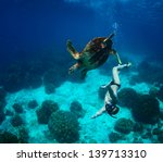 Young Man Snorkeling In A...