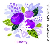 fresh bilberry berry berries... | Shutterstock .eps vector #1397137100