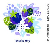 fresh blackberry berry berries... | Shutterstock .eps vector #1397137103