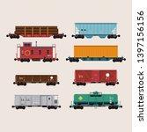 Flat design freight cars bundle including flatcars, hopper, refrigerator, tank, container, gondola and caboose. Rolling stock transport illustration set
