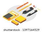 isometric office stationery ... | Shutterstock .eps vector #1397164529