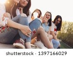 group of young happy girls... | Shutterstock . vector #1397166029