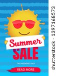 summer sale banner with smiling ...