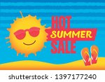 hot summer sale banner with...