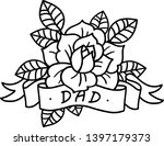 rose tattoo with ribbon and... | Shutterstock .eps vector #1397179373