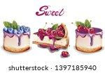 sweet cakes set vector... | Shutterstock .eps vector #1397185940