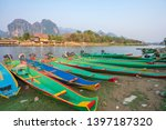 long tail boats on song river ... | Shutterstock . vector #1397187320