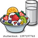 fresh fruit salad with milk... | Shutterstock .eps vector #1397197763